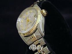 Rolex Datejust Ladies 2Tone 14K Gold & Stainless Steel Watch Silver Diamond 6917