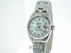 Rolex Datejust Ladies Stainless Steel/18k White Gold Watch White MOP Diamond