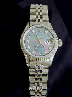 Rolex Datejust Ladies Stainless Steel Watch 18k White Gold MOP Diamond 6917