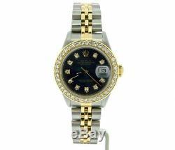 Rolex Datejust Lady 18K Yellow Gold & Steel Watch Diamond Dial Bezel Black 69173