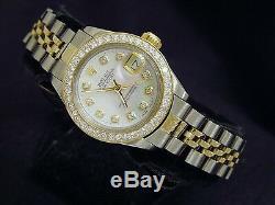 Rolex Datejust Lady 2Tone 14K Gold Steel Watch White MOP Diamond Dial 1ct Bezel