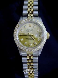 Rolex Datejust Lady 2Tone 14K Yellow Gold & Steel Watch with Diamond Dial & Bezel