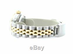 Rolex Datejust Lady 2Tone 18K Yellow Gold & Steel Watch Black Diamond Dial 69173