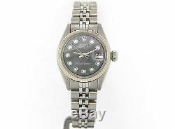 Rolex Datejust Lady Stainless Steel Watch 18k White Gold Black MOP Diamond 6917