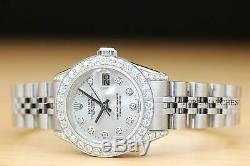 Rolex Ladies Datejust 1.10 Ct Diamond Bezel & Lugs 18k White Gold Steel Watch