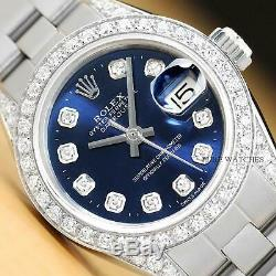 Rolex Ladies Datejust 18k White Gold Diamond Bezel & Diamond Lugs Watch