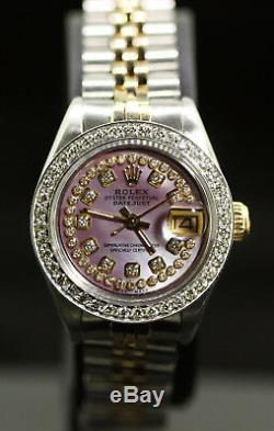 Rolex Ladies Datejust Oyster 18K Gold Stainless Diamond Dial Bezel 69173