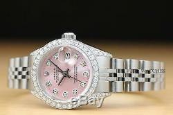 Rolex Ladies Datejust Pink Diamond Dial, Bezel & Lugs 18k White Gold Steel Watch