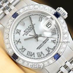 Rolex Ladies Datejust Silver Roman Sapphire Diamond 18k White Gold Steel Watch