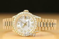 Rolex Ladies President Factory Diamond Dial 18k Yellow Gold Quickset Watch