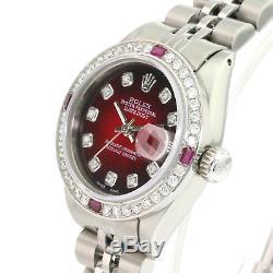 Rolex Lady Datejust SS Red Vignette Diamond Dial Diamond Bezel 26mm Watch