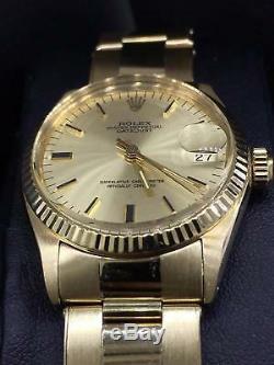 Rolex Vintage Datejust Midsize 31mm 14k Yellow Gold Champagne Dial MINT Ref. 6827