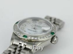 Rolex Watch Steel Lady Datejust 6917 White MOP Diamond Dial & Bezel w Emeralds