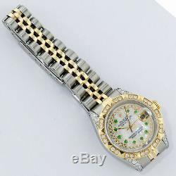 Rolex Watch Women's Datejust Steel 18K Yellow Gold MOP Diamond / Emerald Dial