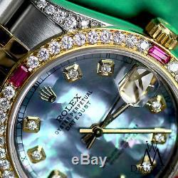 Ruby Diamond Rolex 26mm 2 Tone 18K Gold SS Datejust Watch Tahitian MOP Jubilee