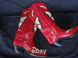 Tony Lama Vintage Red Butterfly Cowboy Boots Size 27,5 US 9,5- 10