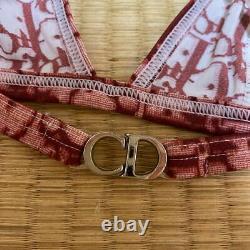 Unused Authentic Christian Dior Vintage Monogram Bikini Swimsuit Red Size 38 New
