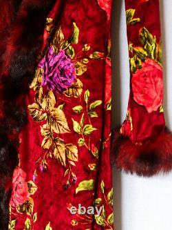 VINTAGE BETSEY JOHNSON Velvet Faux Fur Duster Coat Red Rose Pattern