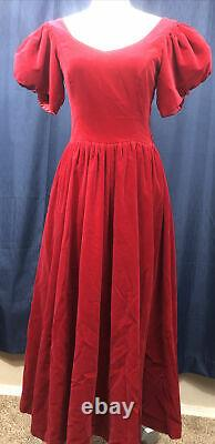 VINTAGE Laura Ashley Womens Red Velevt Puff Sleeve Dress Size 8