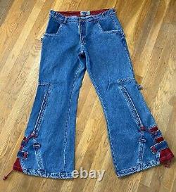 VTG 90s Macgirl Blue red baggy Rave Skater Pants Jeans RARE Macgear JNCO SZ 15