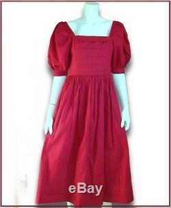 VTG Laura Ashley red 100% cotton puff sleeves belt dress US 10 UK 12 Eur 38 GB