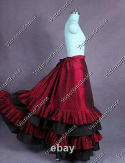 Victorian Gothic Dark Red Vintage Bustle Walking Skirt Theater Steampunk K034