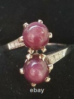 Vintage 18k Gold Star Ruby Diamond Ring-Estate Jewelry Women's SZ 7 5.3 gm