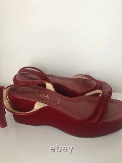 Vintage 1997 Prada Red Velvet Platform Wedge Shoes Sandals Size UK 7 EUR 41