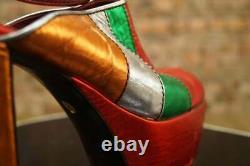 Vintage 70s Platforms Shoes Sandals Red Metallic 70s Disco Studio 54 Party