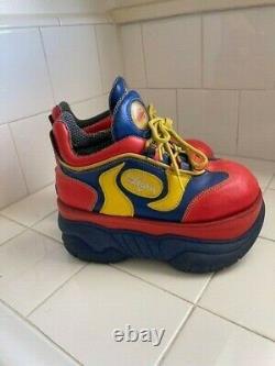 Vintage 90s Swear Alternative Platform Boots Clown Raver Red Blue Yellow 42