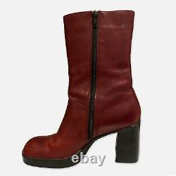 Vintage 90s Y2K Dark Red Leather Square Toe Chunky Platform Ankle Boots Size 8