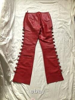 Vintage 90s Y2k Red Snakeskin Fetish Leather Cut Out Lace Up Loop Trousers Uk14