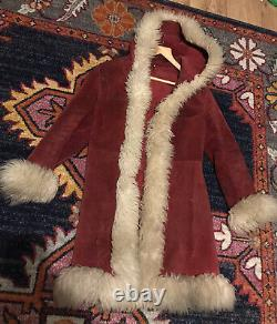 Vintage Afghan Pennylane Mongolian Suede Leather Coat 8 Jacket Fur Simone Red