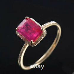 Vintage Art Deco Natural Diamond Red Ruby Engagement Women Ring 14K Yellow Gold