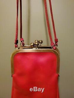 Vintage Bonnie Cashin Coach Double Kisslock Red Leather Swing Purse Bag