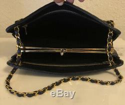 Vintage CHANEL Black/Red Quilted Gold CC Logo Lambskin Chain Shoulder Bag Wallet