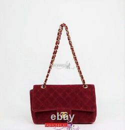 Vintage CHANEL Burgundy Red Velvet Classic Medium Single Flap Bag