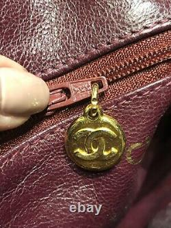 Vintage CHANEL CC Brown Quilted Leather Crossbody Bag