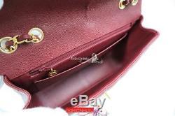 Vintage CHANEL Classic Vertical Quilt Burgundy Red Caviar Medium Flap Bag Gold