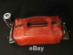 Vintage COACH 60's Bonnie Cashin Double Header Kiss Lock Red Leather Purse Bag