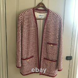 Vintage Chanel Red/Cream Houndstooth Wool Cardigan Sweater Jacket Size 42