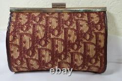 Vintage Christian DIOR Logo Burgundy Tapestry canvas Frame Small Clutch Bag