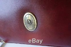 Vintage Christian Dior Crossbody Purse Burgundy Leather converts to Clutch Bag