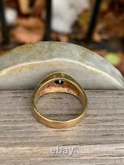 Vintage Designer 14k Yellow Gold Red Garnet Diamonds Gypsy Ring Heavy Men Woman