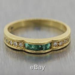 Vintage Estate 18k Yellow Gold 0.20ctw Emerald & Diamond Wedding Band Ring