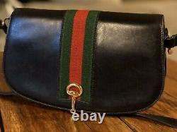 Vintage GUCCI Black Leather Red Green Web Horesebit Shoulder Hand Bag With Dust