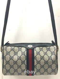Vintage GUCCI Collection green red striped Leather Crossbody GG Bag