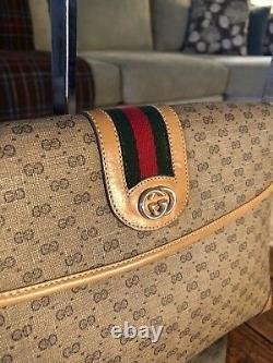 Vintage GUCCI Tan Micro GG Red Green Web Crossbody Shoulder Hand Bag Monogram
