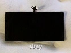 Vintage Gucci Black Suede with Red Leather Interior Gold Hand Clasp Clutch Wallet