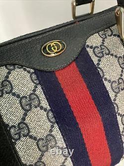 Vintage Gucci Boston Speedy Bag Navy Blue, Red, White